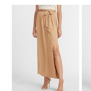 NEW Express High Waisted Tie Front Slit Maxi Skirt